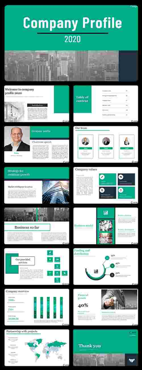 A fifteen noded company profile slide template