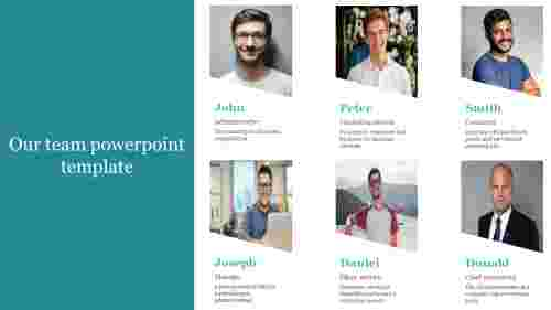 A six noded our team powerpoint template