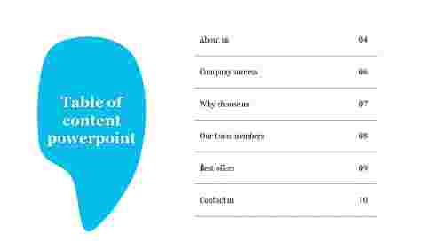 A six noded Table of content powerpoint