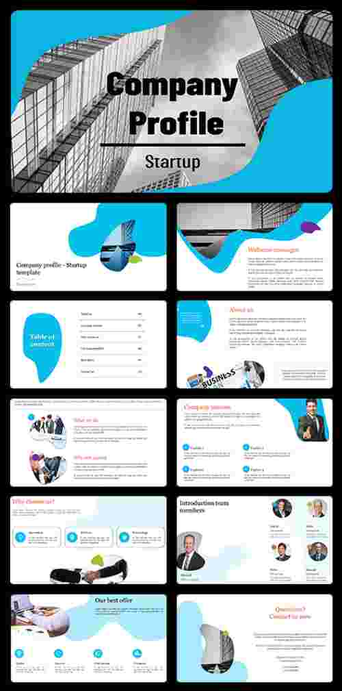 A ten noded Company profile powerpoint presentation template