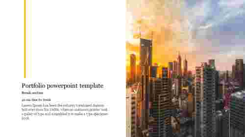 Break section Portfolio powerpoint template