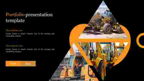 Portfolio presentation template with construction vehicle