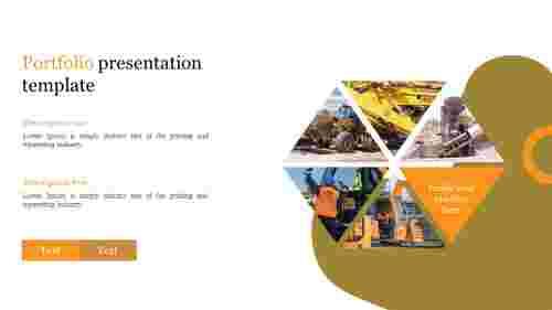 Portfolio presentation template with construction machine