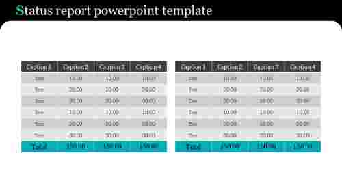 Status report powerpoint template - Table model