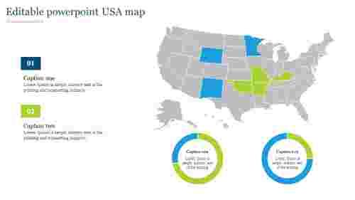 Editable powerpoint USA map with doughnut chart