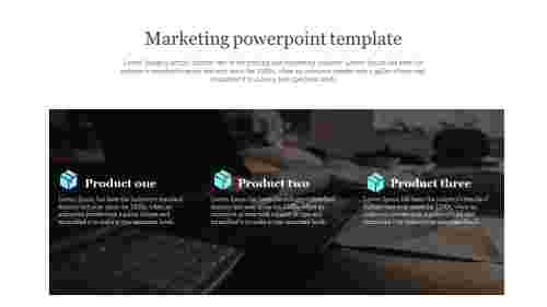 Marketing powerpoint template with product icon
