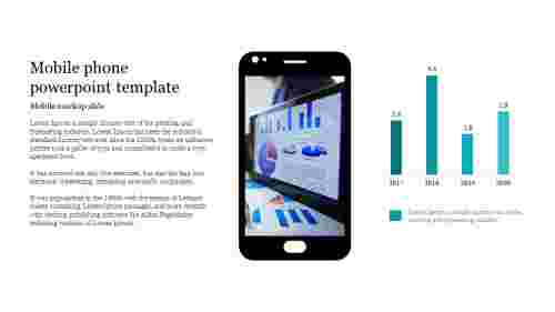 Mobile phone powerpoint template with chart