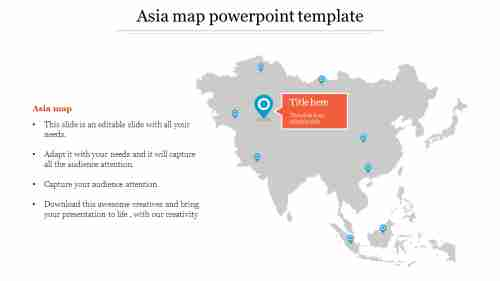 Simple Asia map powerpoint template