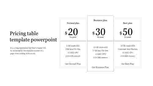 Best Pricing table template powerpoint