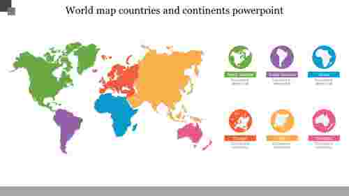 World map countries and continents powerpoint template