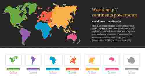 World map 7 continents powerpoint