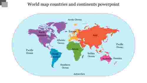 Continents and oceans map powerpoint