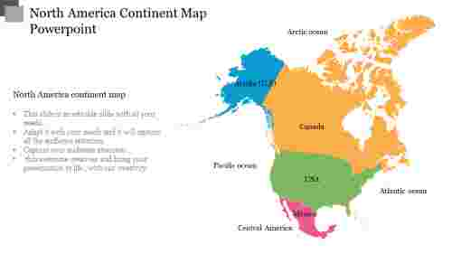 North America Continent Map Powerpoint