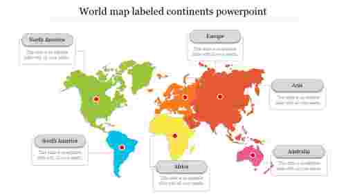 World map labeled continents powerpoint