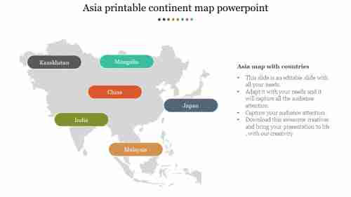 printable continent map powerpoint presentation