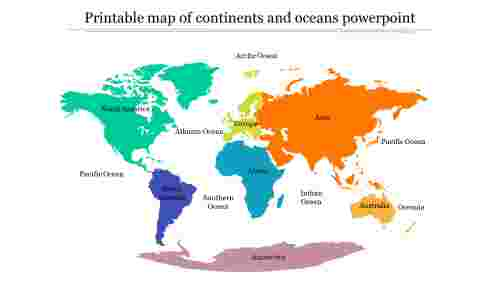 Image of: Black Simple Printable Blank Map Of Continents And Oceans Ppt New Slideegg