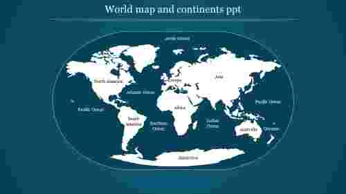 world map and continents ppt-style 1
