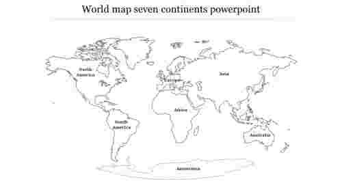 World map seven continents powerpoint