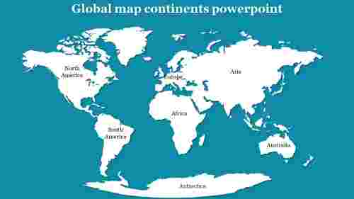 Global map continents powerpoint
