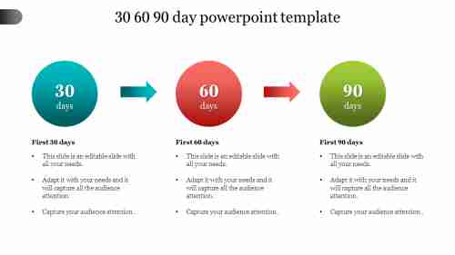 30%2060%2090%20Day%20PowerPoint%20Template%20With%20Circle%20Design