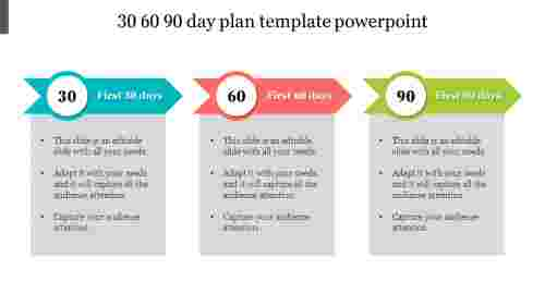30%2060%2090%20Day%20Plan%20Template%20PowerPoint%20With%20Arrow%20Design