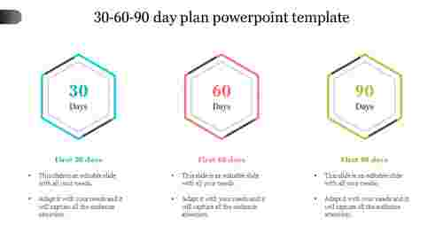 30 60 90 day plan powerpoint template-Hexagon design