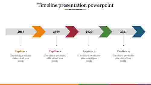 timeline presentation powerpoint with arrow design