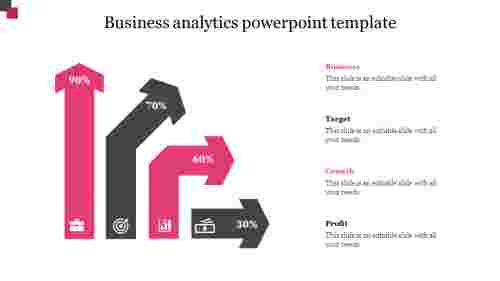 business analytics powerpoint template with arrow design
