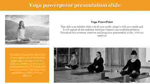 Yoga powerpoint presentation slide with portfolio design