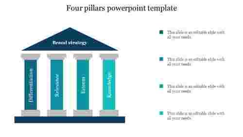 Four pillars powerpoint template slide