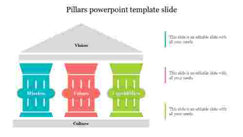 Three pillars powerpoint template slide