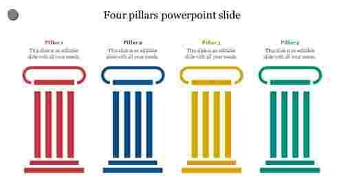 Creative four pillars powerpoint slide