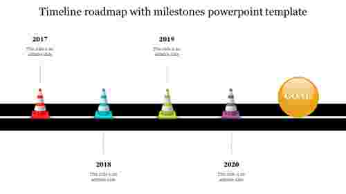 Best timeline roadmap with milestones powerpoint template