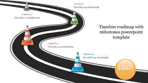 Creative timeline roadmap with milestones powerpoint template