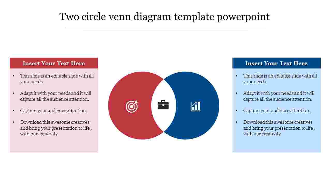 Two  circle venn diagram template powerpoint