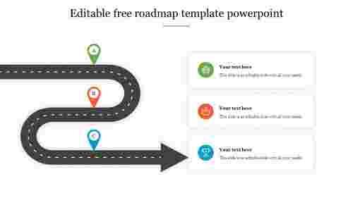 Editable free roadmap template powerpoint slide