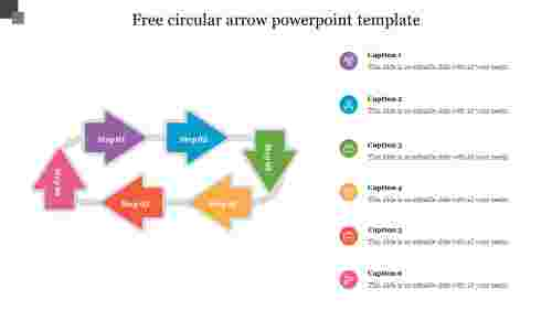 Free circular arrow powerpoint template slide