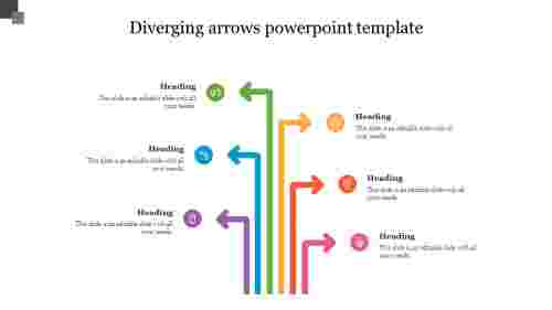 Diverging arrows powerpoint template slide