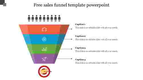 Free sales funnel template powerpoint slide with animation