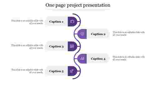 one page project presentation-Purple