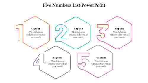 Five%20Numbers%20List%20PowerPoint%20with%20hexagon%20design
