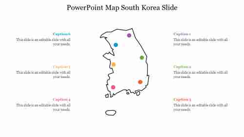PowerPoint Map South Korea Slide
