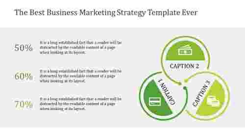 Business marketing strategy template with connected circle
