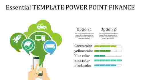 template power point finance with cloud model