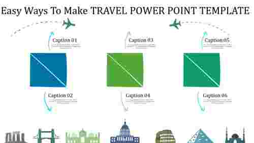 travel power point template with three squares