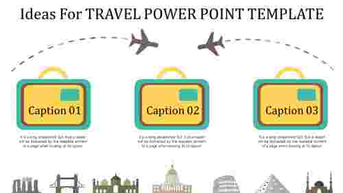 Three noded travel PowerPoint template