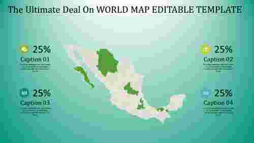 world map editable template - blue