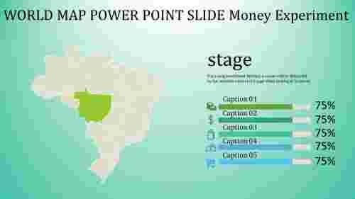 world map power point slide - green
