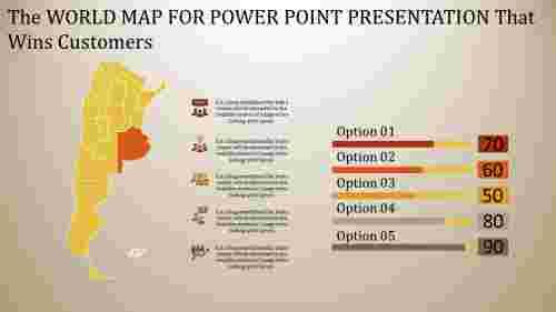 world map power point - bar chart