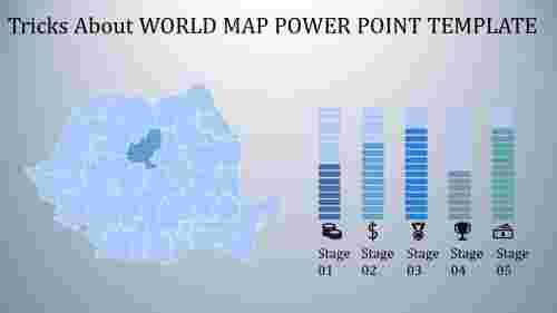 world map power point template - bar chart model